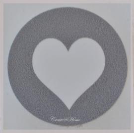 Sticker hartje grijs/wit
