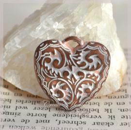 Bedeltje koper/zilverkleur, harten