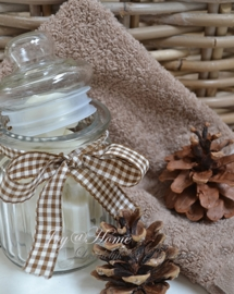 Glazen potje met zeephartjes, strik & gastendoekje in vele kleurtjes