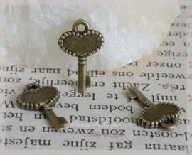 Bedeltje bronskleur, sleuteltjes