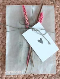 Gedroogde bloemen, zakje & kaartje