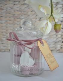 Zeep cadeau, voorraadpotje glas met zeephartjes & label in vele kleurtjes