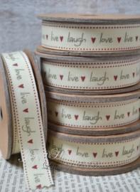 Kartonnen spoel met lint. Live, love & laugh, crème/grijs