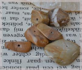 Kralen glas chips, Pertrified Wood Jasper