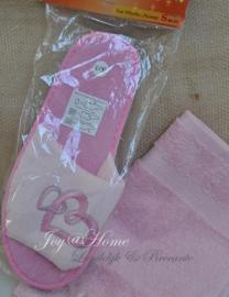 Badslippers & gastendoekje, roze