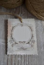 Brocante label van oud document