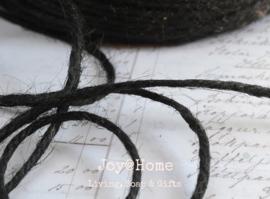 Zwart jute touw 4 draads per meter