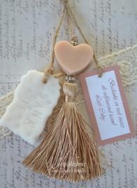 Bedankje. Zeep hartje, kwastje & zeep label in vele kleurtjes & combinaties
