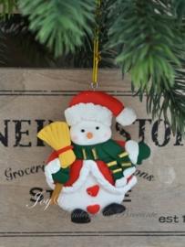 Kersthanger sneeuwpop met bezem