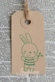 Label konijntje jongen in 7 kleuren
