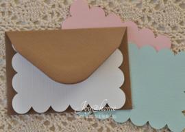 Envelopje met kaartje eigen tekst in vele kleuren