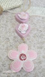 Bloem hanger steen met zeephartjes en roosjes in vele kleuren