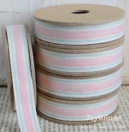 Kartonnen spoel met lint. Offwhite met blauwe & roze streepjes