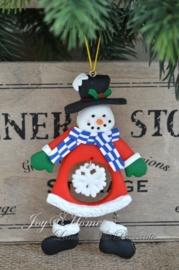 Kersthanger sneeuwpop met sneeuwvlok
