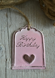 Label zink roze, happy birthday