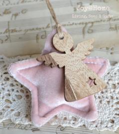 Vintage roze stoffen ster met houten engel