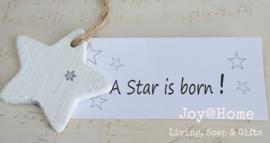 Huisje steen met kaartje A star is born
