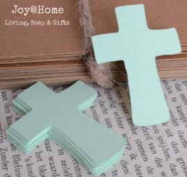 Label kruis in vele kleurtjes & afm. met of zonder touwtje & tekst
