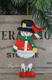 Kersthanger sneeuwpop met vogel
