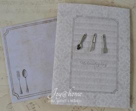 Kaart & envelop Uitnodiging met bedels bestek