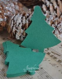 Label kerstboom in vele kleurtjes & afm. met of zonder touwtje & tekst