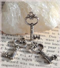 Bedeltje  antiek zilverkleur, sleuteltjes