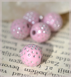 Kralen metal look, roze/zilver