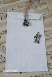 Zakje wit zilver barok met kerstbedeltje