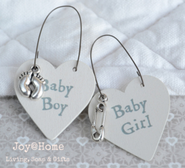 Hartje hout - tag Baby boy/girl & bedeltje