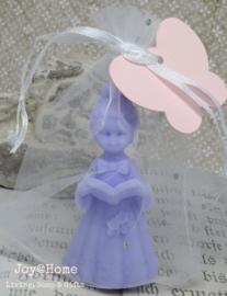 Communie gift. Label eigen tekst, zakje & zeep meisje in vele kleurtjes