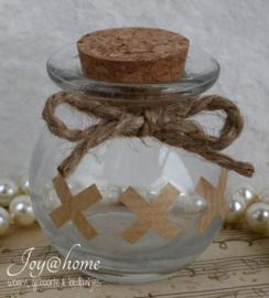 Glazen potje met kurk, touw & kraft stickers XXX