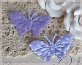 Vlinder satijn, lila - wit