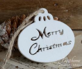 Houten kerstbal plat Merry Christmas