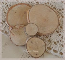 Houten schijfjes blanco in 4 afmetingen