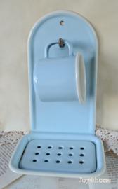 Vintage hang zeepbakje met kopje