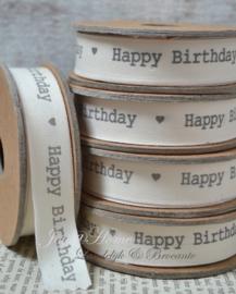 Kartonnen spoel met lint. Happy birthday, offwhite/grijs