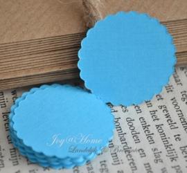 Label cirkel sculp in vele kleurtjes & afm. met of zonder touwtje & tekst