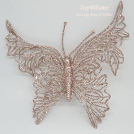 Decoratie glitter vlinder met clip, champagne