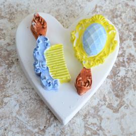 Gekleurde stenen hart kam - spiegel