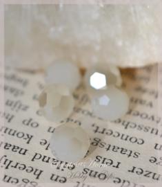 Kralen glas facet, wit diamant coating