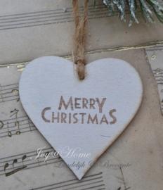 Houten hartje Merry Christmas. Per 5