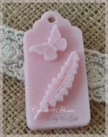 Zeepjes label vlinder/blad. Per 3
