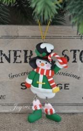 Kersthanger sneeuwpop met zuurstok
