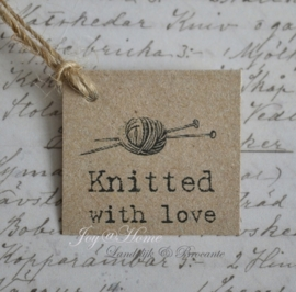 Kraft labels, Knitted with love