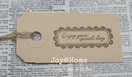 Label Enjoy your special day in 4 kleuren