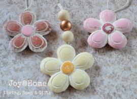 Bloem hangers steen in 3 kleuren
