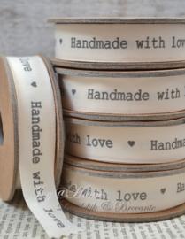 Kartonnen spoel met lint. Handmade with love, offwhite/grijs