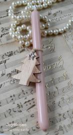 Potloodkaarsje met houten kerstboom & sterbedeltje