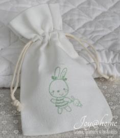 Katoenen zakje met konijntje jongen of meisje