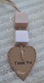 Bedankje. Zeepblokjes & kraft hartje Thank you in vele kleurtjes
